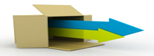 open cardboard box with two arrows bursting forth