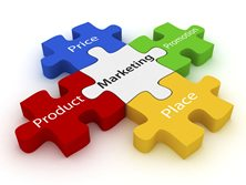 Puzzle pieces representing the 4 P's or marketing